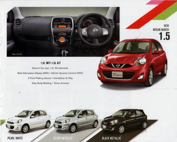 Perbedaan spesifikasi tipe Nissan March 1.2 L dengan March 1.5 L