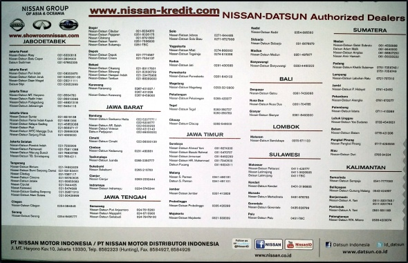 DAFTAR BENGKEL SERVICE DEALER RESMI NISSAN DATSUN SELURUH INDONESIA
