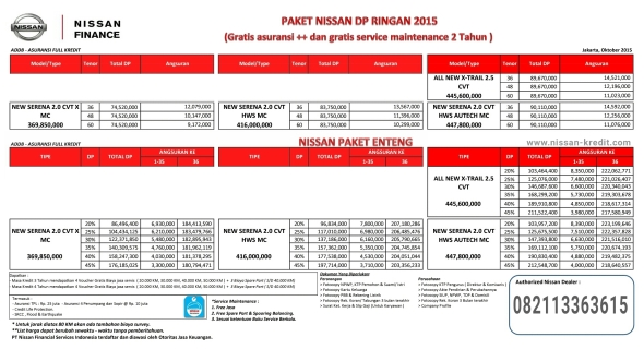 PROMO KREDIT DP RINGAN NISSAN SERENA DAN XTRAIL 2.5 2015